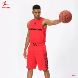 Basket-ball uniforme sublimé par coutume Jersey de modèle simple de basket-ball rouge de Healong