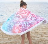 Cotone 100% stampato intorno al tovagliolo di spiaggia con frangia