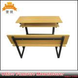 小学校の家具の二重シート鋼鉄学生のチェアーテーブル