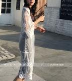 Женская шифоновая осень кофточки выдалбливает вне кофточку верхней части рубашки женщин втулки кофточки шнурка длиннюю