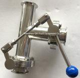Rosca válvula de mariposa sanitaria de acero inoxidable con T / codo