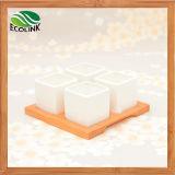Бак 4 комбинированных квадратов керамический суккулентный с Bamboo стойкой