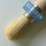 Brosse ronde (Pinceau à poils blanc pur et poignée en bois dur, brosse plate)