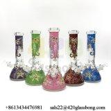 12.8 Zoll handgemalter Blumen-Entwurfs-Glasbecher-rauchende Wasser-Glasrohr-auf Lager