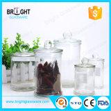 Commerce de gros pot en verre transparent avec couvercle pour la vente