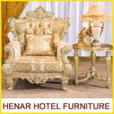 Rey de oro Throne Chair con la talla hecha a mano para los muebles del hotel