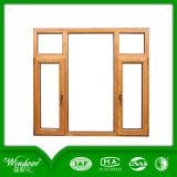 Guichet en aluminium et porte solide de Clading en bois de chêne, guichet d'apparence de luxe et porte en bois