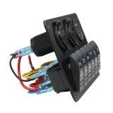 デジタルVoltmeter+12V電力ソケット+Double USB力の充電器のアダプターの車のトレーラーの海兵隊員のボートのための防水青LEDのバックライトが付いている6人の一団のロッカースイッチパネル