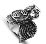 Punky gótico de acero Titanium del anillo de los hombres grandes del buho
