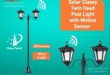 Lumière principale jumelle solaire de poste avec le détecteur de mouvement