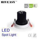 5W Round Aliuminum COB Black LED Spotlight