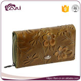 Дешевый кожаный бумажник с выбитым цветком, малым кожаный портмонем руки с роскошной конструкцией