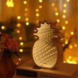Decoração de interiores LED operados USB da Bateria da Luz do espelho de túnel de ananás
