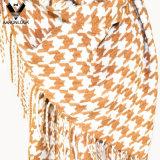 100% acrílico de dos tonos cuadros Moda pata de gallo bufanda con flecos