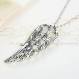 925 Sterling Silver Angel Wing, Clear CZ Necklaces Jóias