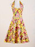 Weinlese-Arthalter-Abschlussball plus die Größe, welche die Blumenfrauen-Kleider reizvoll glättet