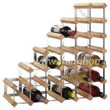 金属および木ワインラックは梯子27のワイン・ボトルの銀製カラーを保持する