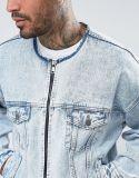Collarless слишком большой куртка джинсовой ткани с застежка-молнией в светлом мытье