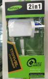 Infinix Tecno Itelのための熱い新製品Us/EU/UKのプラグの壁USBの充電器完全な2A