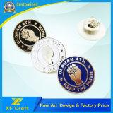 安い価格はめっきされた銀が付いているエナメルのクラフトのバッジを押す鉄をカスタマイズした(XF-BG013)