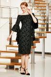 Elegante fora do vestido de MIDI do ombro com a luva de Bell do plissado e a parte dianteira da régua