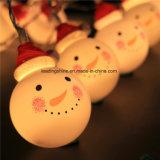 Het warme Witte Amber Gele Witte Licht van het Koord van de Fee van de Bal van de Sneeuwman van Kerstmis past In werking gestelde de Adapter van de Batterij aan