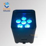 Drahtloses LED NENNWERT Licht Cer-nachladbares Lithium-Batterie APP-mit 6LEDs Rgbaw UVfarbe für Weihnachtsfeiertags-Partei