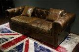 Sofá de cuero de grano superior europeo con una sólida estructura de madera / Classic Royal sofá
