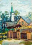 Impressões em tela de casas de desenhos animados de aquarela