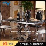 Mesa de jantar de mármore com pés de aço inoxidável Mesa de aço inoxidável