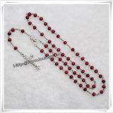 Rosary узла украшения сувенира шариков христианского Rosary Иисус вероисповедного деревянный (IO-cr100)