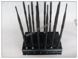 2015 nueva mano 12 bandas 3G CDMA GPS teléfono celular Señal de escritorio Jammer, señal de teléfono móvil Jammer / Signal bloqueador de teléfono inalámbrico de alarma