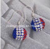Joyería de moda / Azul Rojo Blanco Rhinesotne Cordón colgante de perlas de cristal de la Bandera Nacional Checo Shamballa Gancho de oreja aros de aleación de zinc (PE-024