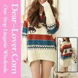 뜨개질을 한 스웨터를 뜨개질을 하는 형식 숙녀 여자 모직 스웨터