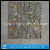 Tuile en mosaïque d'ardoise rustine naturelle pour revêtement mural