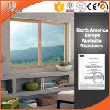 Fenêtre coulissante en aluminium à bois de couleur thermique pour maison résidentielle, double vitrage Fenêtre à glissement en verre trempé