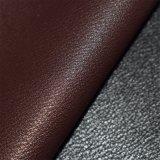 えんじ色のブラウン模造PUの革、のどの靴革