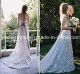 Ilusão Mangas 3/4 Tulle vestido de noiva Silver Suite Wedding Beca Ld15256