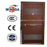 Conception classique de couleur marron métal d'entrée de porte en acier de sécurité (W-S-139)