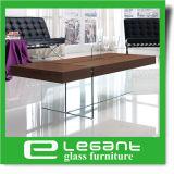 Akiyama Chapa de madera de fresno mesa de centro con cristal templado en las piernas