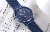 ファッションビジネスの人の腕時計は鋼鉄網ベルトの水晶腕時計を防水する