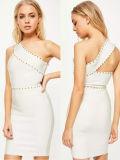Une épaule Rivets robe courte Mesdames Bandage Skinny