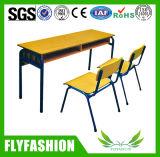 Escritorio y silla dobles populares de madera (SF-08D) de la escuela del diseño simple