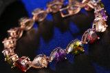 Form-kupferne Kristallschmucksache-buntes Armband-Rosen-Goldfarbezircon-Armband