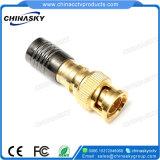 금에 의하여 도금되는 CCTV 동축 케이블 남성 BNC 압축 연결관 (CT5078G/RG59)