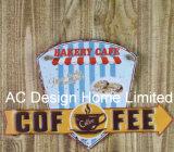 Il caffè nel disegno della città imprime la piastra della decorazione della parete del metallo di stampa
