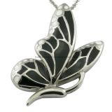 Esmalte de acero mariposa pendiente mujeres joyas