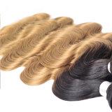閉鎖のブラジルのバージンの毛ボディ波が付いているOmbreのブラジルの毛