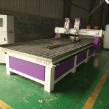 Marcação a dupla cabeça de corte CNC para trabalhar madeira Máquina com eixo de rotação