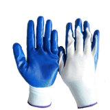 Синий нитриловые Coted белого полиэстера вязаные стороны рабочие перчатки